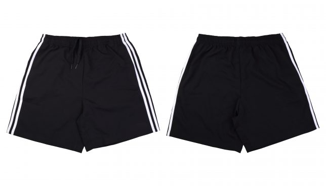 Front and back black running short pants on white background