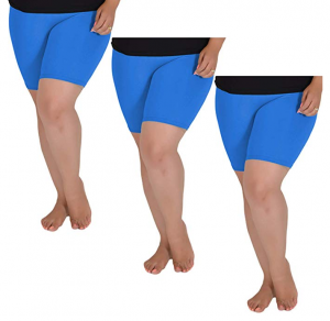 Stretch Is Comfort Women's Plus Size Cotton Bike Shorts Set of 3 Pieces
