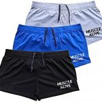 Muscle Alive Men's Bodybuilding Shorts 3 Inseam Cotton