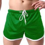 Ouber Men's Green Fitted Shorts for Running Workout & Bodybuilding