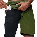 Pinkbomb Men's 2 in 1 Green Running Shorts