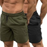 TEZO Mens 7-inch Gym Green Workout Shorts for Running Bodybuilding