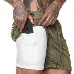 akk men's green running shorts