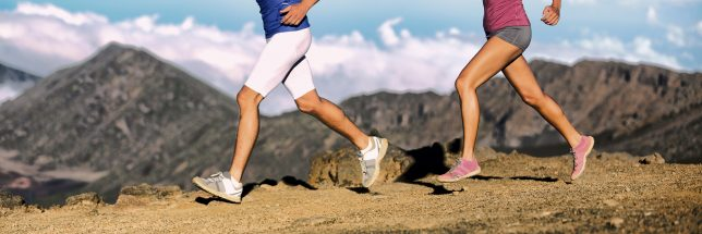 male and female running shorts